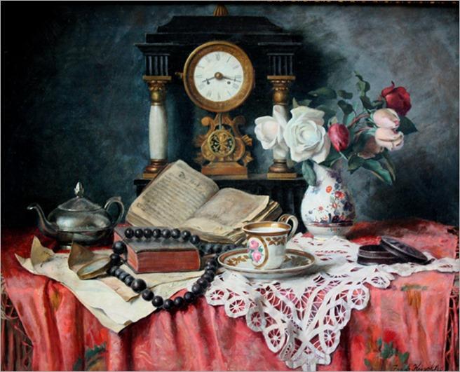 Franz Krischke (1885-1960)_Still_life_with_mantel-clok_and_antiques