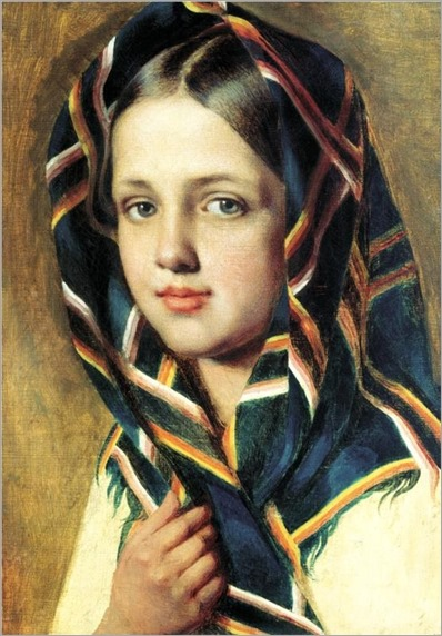 Girl in a Kerchief, Alexey Venetsianov_(wikipaintings)