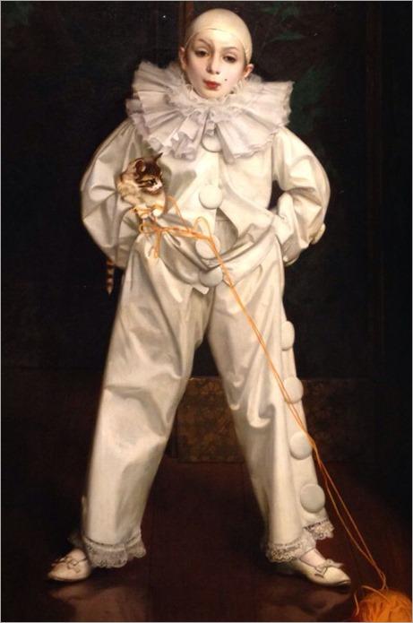 Ritratto di bambino nel costume di Pierrot, 1897 by Vittorio Matteo Corcos (Italian 1859-1933)