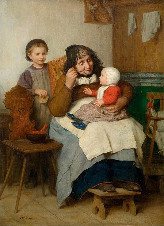 АЛЬБЕРТ ANKER_grandmother, ее внуком давая суп.  1868