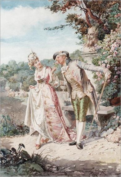Belisario Gioja (1829 - 1906) - A stroll in the garden