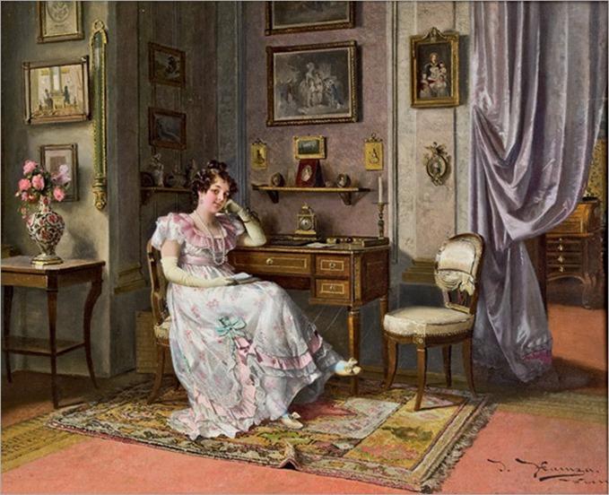 elegant lady at the desk by Johann Hamza