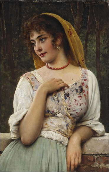 Eugen Von Blaas (1843 - 1932) - A pensive beauty