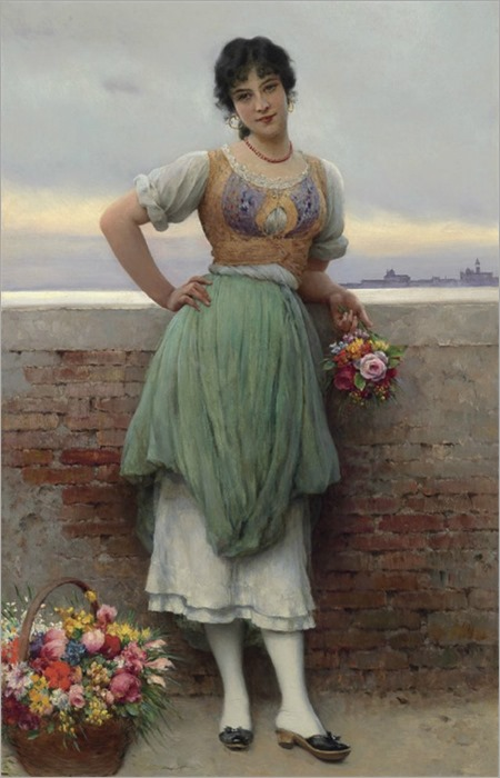 Eugen von Blaas - The Venetian Flower Seller