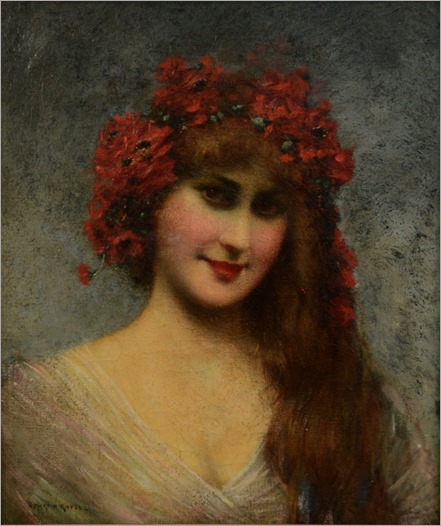 François Martin Kavel (french, 1861-1931)-PORTRAIT OF A YOUNG LADY WITH FLORAL HEADDRESS