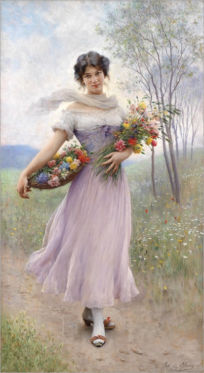 girl-in-a-lilac-coloured-dress-with-bouquet-of-flowers_Eugene de Blaas