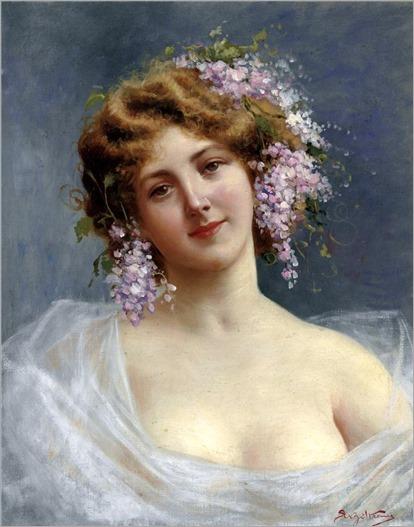 Girl with Lilacs- Achille Beltrame (Italian, 1871- 1945)