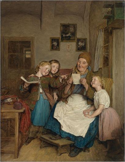 Бабушка с тремя Grandchildren_Ferdinand Георг Вальдмюллер-1854