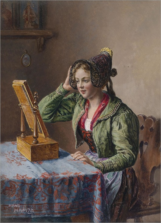 Hans_Hamza_Vienna_1879_1945_Young_Girl_in_Front of the mirror