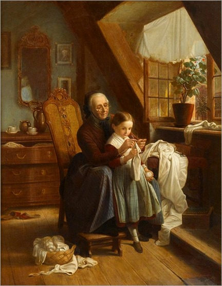Johann Georg Meyer von Bremen_the sewing lesson