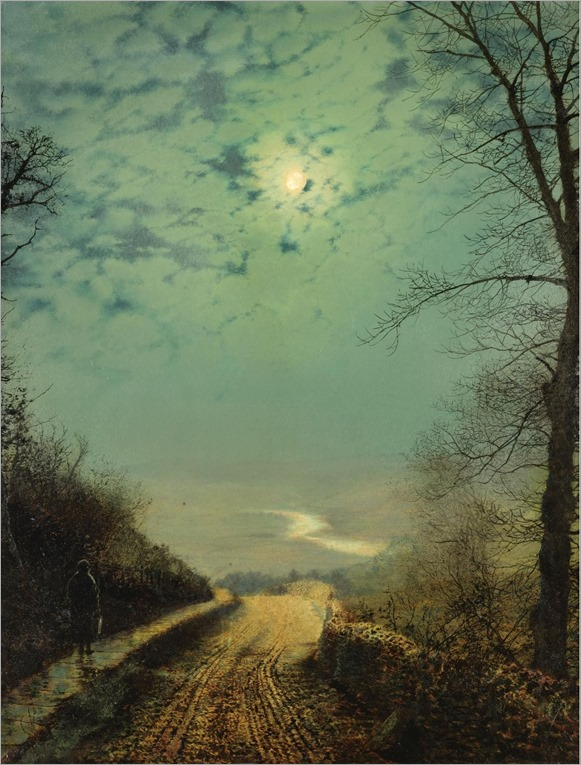 John-Atkinson-Grimshaw-Paintings-A-Wet-Road-by-Moonlight-Wharfedale-1872