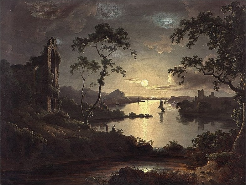 John Doyle (irish, 1797-1868), Attr., Moonlit Landscape, 1828