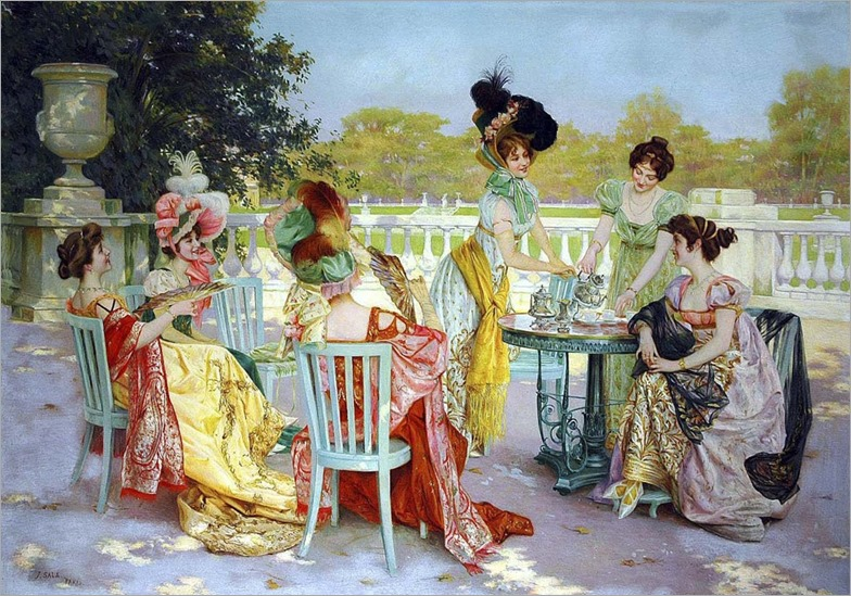 Parisian Tea Party - Jean Sala Gabriel (spanish painter)