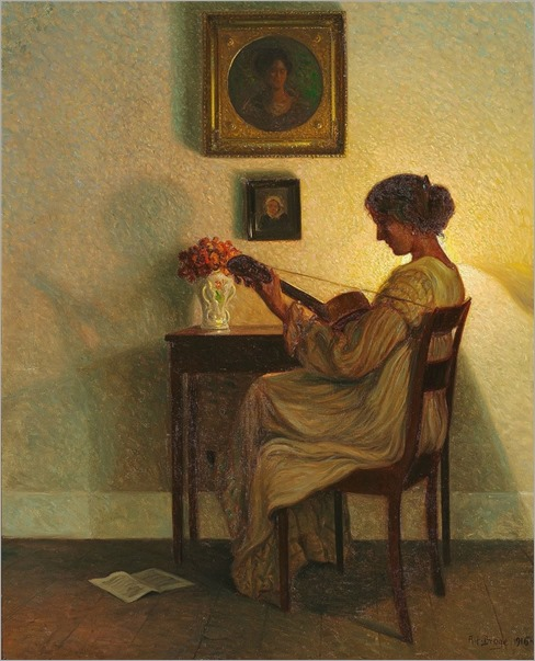 Playing the Guitar - 1916 by Alfred Broge (danish painter)