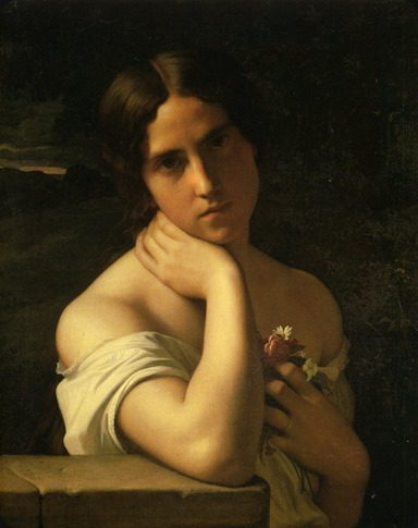 Portrait of a Young Woman - Jean Hippolyte Flandrin-1860
