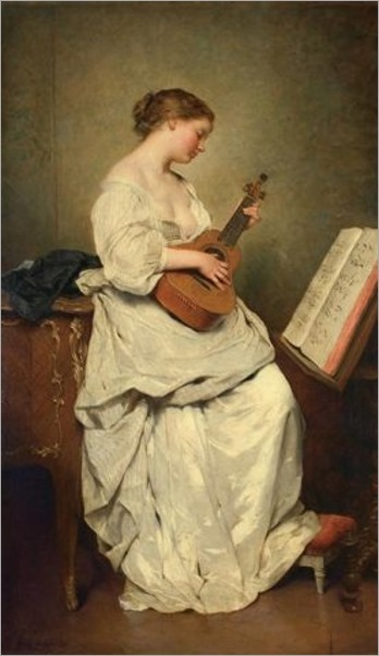 The Music Girl. Charles Chaplin (French, Academic, 1825-1891). Oil on canvas