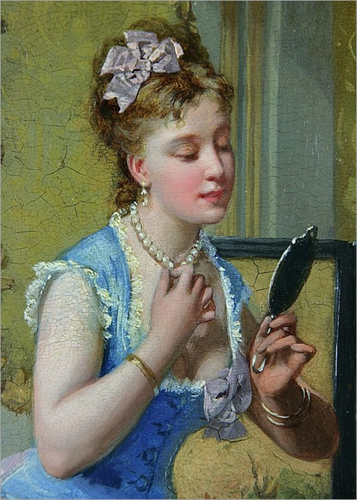 The Necklace, Oil on Wood Panel by Antonio Garcia y Mencia