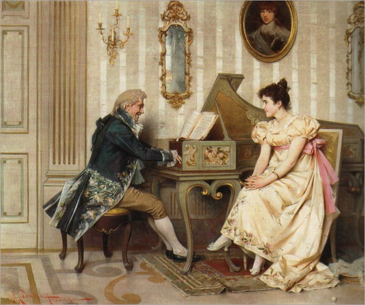 the serenade_Adriano Cecchi (italian, 1850-1936)
