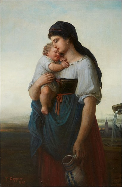 Theodor Köppen (1828-1903), A Mother and Child by a Well