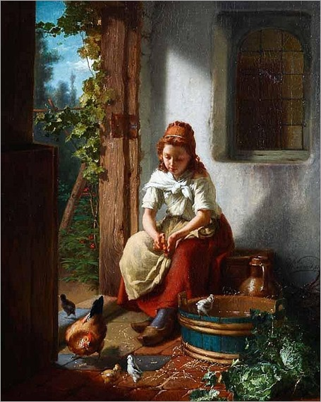 THEODORE GERARD (Belgian 1828-1895) FEEDING THE CHICKENS-1863