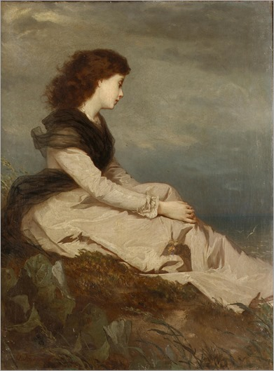 Wilhelm August Lebrecht Amberg Distant thoughts. German, 1822-1899
