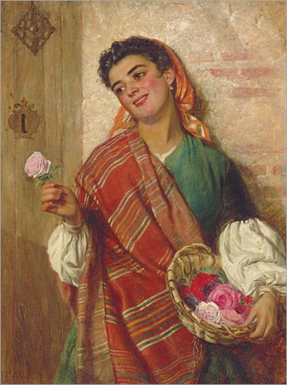 Edward Charles Barnes (British, circa 1830-1882)-the-rose-seller