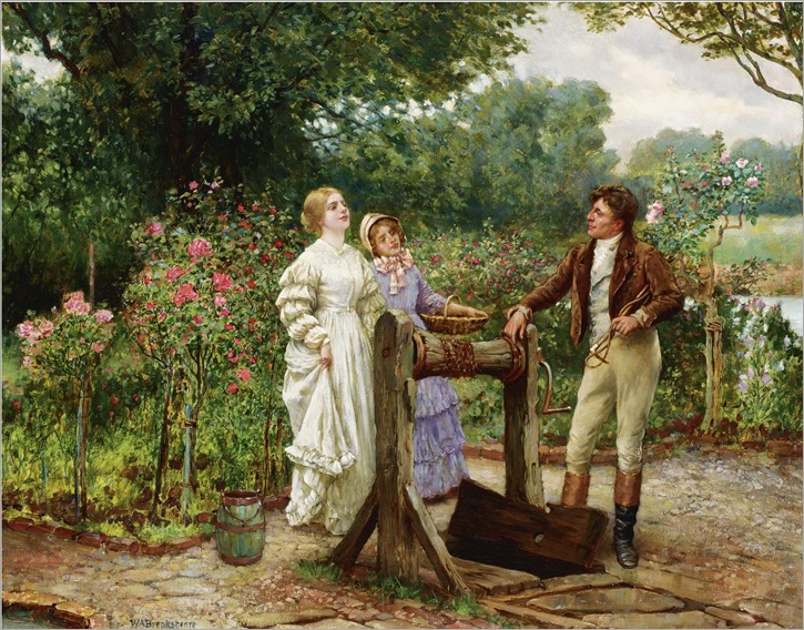 flirtation in the rose garden_William Arthur Breakspeare - Date unknown