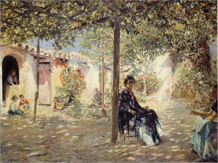 Gallegos_y_Arnosa_Josef_Ladies_in_a_Sun_dapples_Courtyard