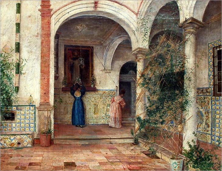 Juan Bautista De Guzman - A Spanish courtyard, with figures tending an alter