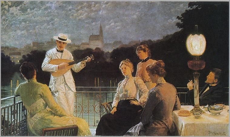 company on the terrace - 1887 - Jakub Schikaneder