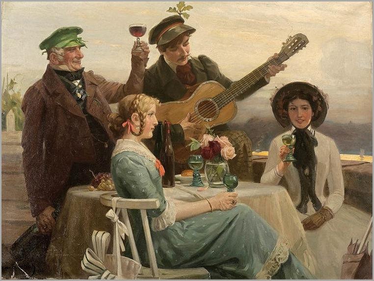 Hans Gabriel Jentzsch (1862 Löbtau - 1930 München) - Das Ständchen