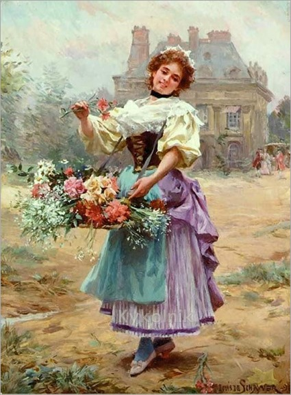 louis-marie-de-schryver-1862-1942- a flower seller on the champs elysees