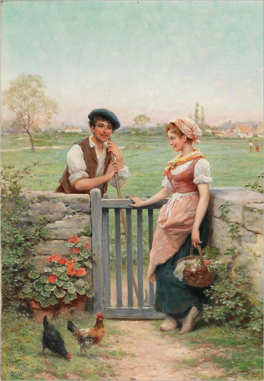 Lucius Rossi (1846-1913) Chatting by the Fence