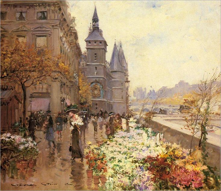 A-Flower-Market-Along-the-Seine_Georges Stein