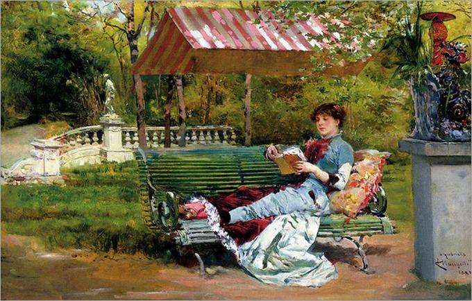 A Good Book (1882). Ludovico Marchetti (Italian, 1853-1909)