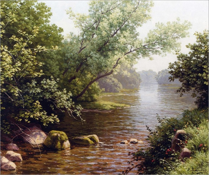 A River Scene in France - Rene Charles Edmond His (french painter)