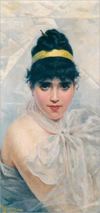 Adolfo Belimbau-(born 1845)-Ritratto di giovane donna, 1887