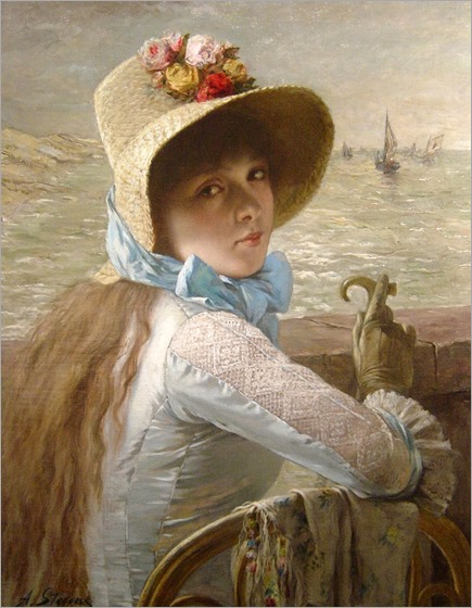Agapit STEVENS-young-girl-at-the-sea-side
