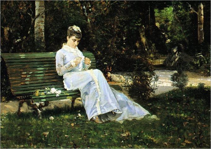 Alaide Banti in the garden _c.1870-Cristiano Banti (italian painter)