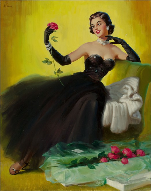 ART FRAHM (American, 1906-1981)-glamorous pin-up with roses