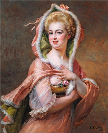 Cesare Auguste Detti (1847-1914) Young Woman in Fur Trimmed Cape