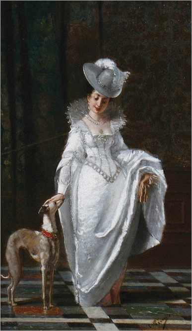 Charles F. Pecrus, 1826 - 1907 A lady with her favourite hound