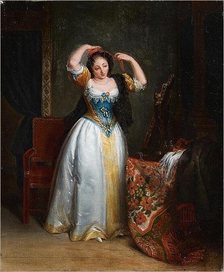 ÉCOLE FRANÇAISE vers 1830, atelier de jean-baptiste franquelin- Jeune femme devant un miroir