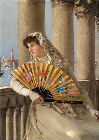 Dominik Skutezky (1849-1921) Venezianerin mit gelbem Facher