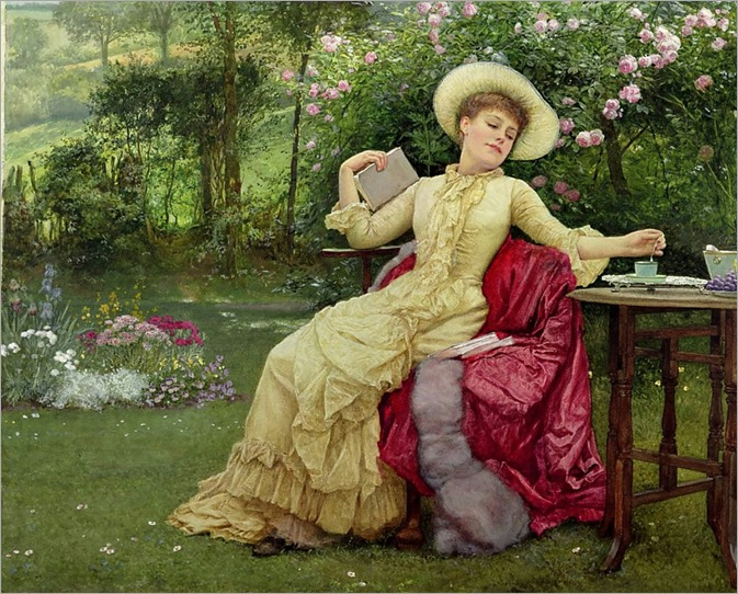 Drinking Coffee and Reading in the Garden. Edward Killingworth Johnson (British.1825-1923). Watercolour on paper