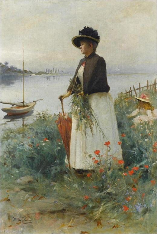 Emile Auguste Pinchart (born1842) - Gathering flowers