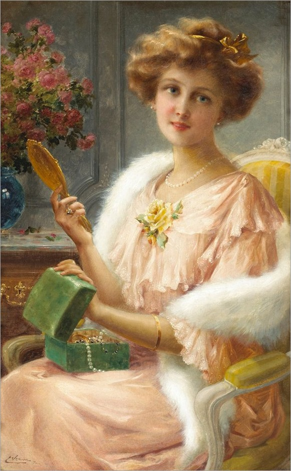 Emile Vernon (1872 - 1919) - A young lady with a mirror