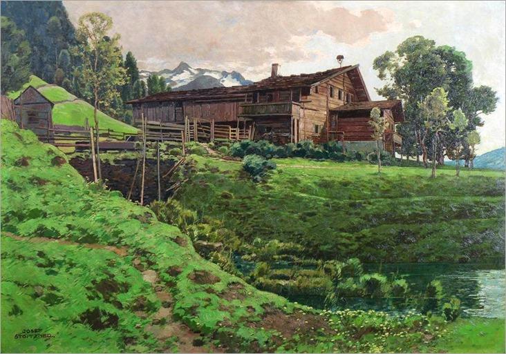Farmhouse near Bramberg in Pinzgau - Josef Stoitzner (austrian painter)