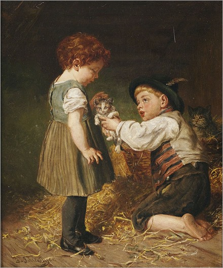 Félix_Schlesinger_Zwei_Kinder_mit_Kätzchen_im_Stall (two children with kitten in the barn)