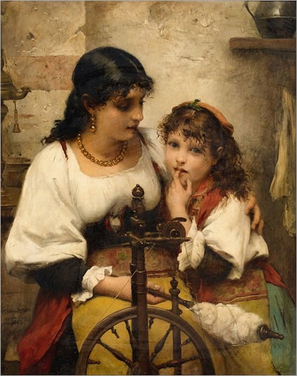 Francois Lafon (french painter)- At the Spinning Wheel